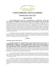Management Information Circular - Connacher Oil and Gas