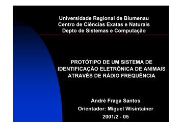 Universidade Regional de Blumenau Centro de Ciências Exatas e ...