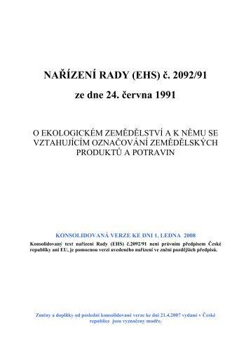 NAŘÍZENÍ RADY (EHS) č. 2092/91 ze dne 24. června 1991