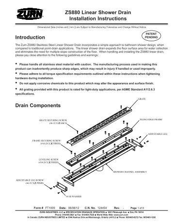 shower drain installation instructions