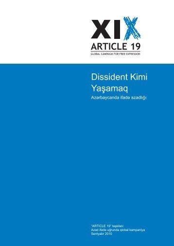 Dissident Kimi Yaşamaq - Article 19