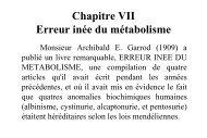 Chapitre VII Erreur inée du métabolisme