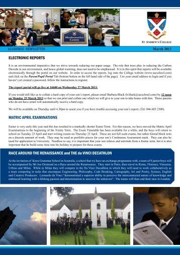 Academic Newsletter Term 1, March 2013 - St Andrew's College