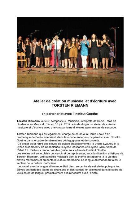 Atelier de création musicale et d'écriture avec ... - Lycée Lyautey