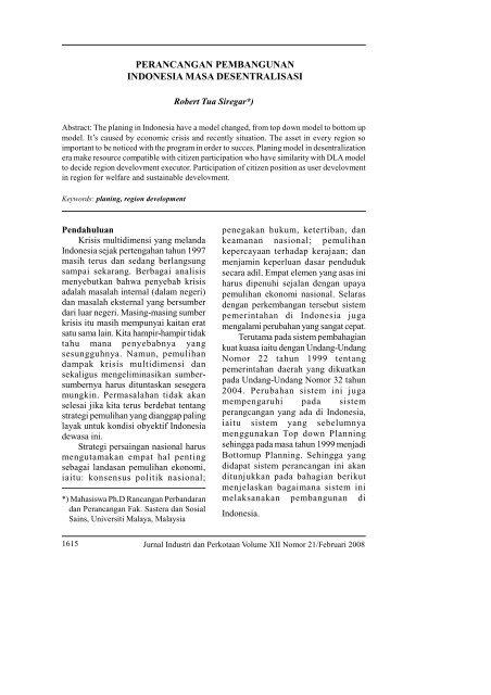 perancangan pembangunan indonesia masa desentralisasi