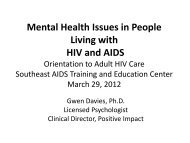 Mental Health Issues in People Living with HIV and AIDS