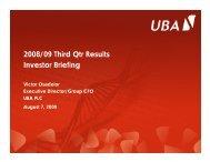 2009 Nine Months Investor Presentation - UBA Plc