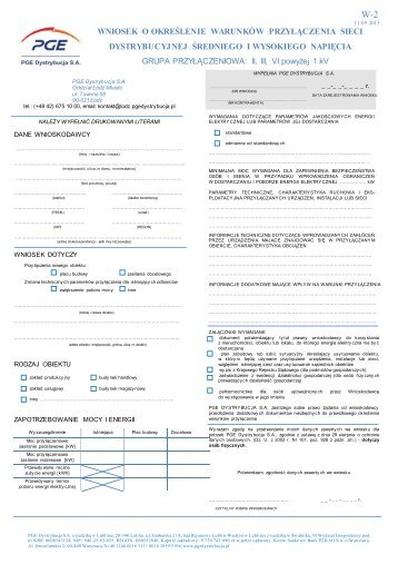 Wniosek o określenie warunków przyłączenia ... - PGE Dystrybucja
