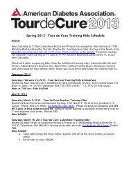 Spring 2013 - Tour de Cure Training Ride Schedule