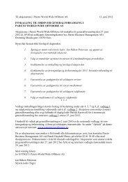 Til aksjonærene i Pareto World Wide Offshore AS 13. juni 2012 ...