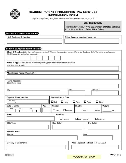 Ny Dmv Registration Form >> Request For Nys Fingerprinting Services Information Form