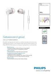 SHE3595WT/00 Philips Headset voor in het oor