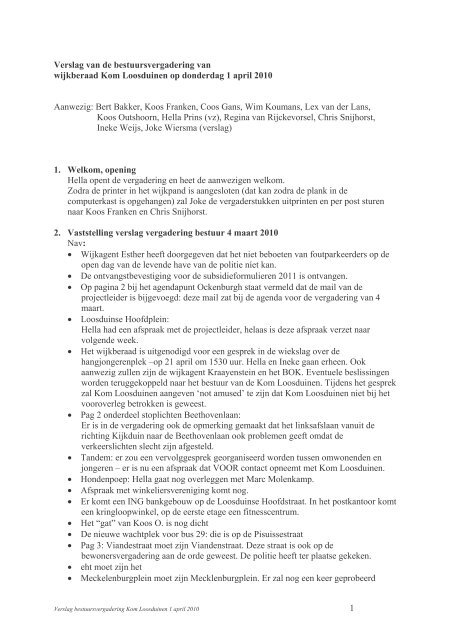 Verslag bestuursvergadering KOM 1 april 2010 ... - Komloosduinen