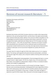 Reviews of recent research literature – 5 - Qualitative Research ...
