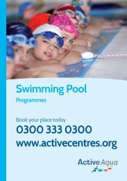 Pool Programme colour key - Active Centre