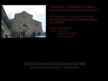 chiesa di san giuliano martire - Sede di Architettura - Sapienza