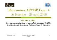 Rencontres AFCDP Lyon + St Etienne – 29 avril 2010 - L'Afcdp
