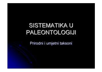 SISTEMATIKA U PALEONTOLOGIJI