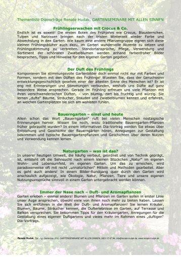 Liste der Vortragsthemen