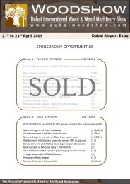 SPONSORSHIP OPPORTUNITIES - Dubai Woodshow