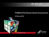 FY2009/10 Third Quarter Results Announcement - TodayIR.com