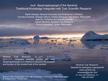 Inuit Qaujimajatuqangit of the Narwhal - Inuit Orality Conference