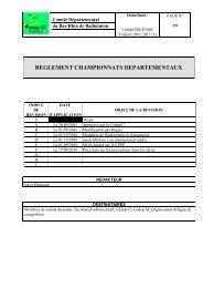 REGLEMENT CHAMPIONNATS DEPARTEMENTAUX - Poona