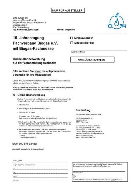 19. Jahrestagung Fachverband Biogas e.V. mit Biogas-Fachmesse