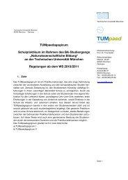 Informationen zum TUMpaed I und II - TUM School of Education