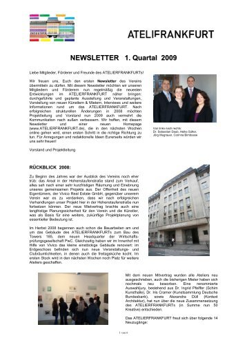 NEWSLETTER 1. Quartal 2009 - Atelierfrankfurt