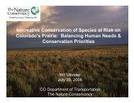 Innovative Conservation of Species at Risk on Colorado's Prairie ...