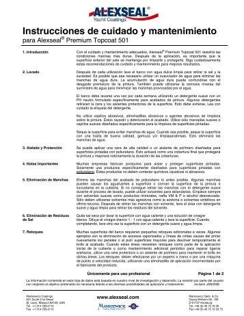 Instrucciones de cuidado y mantenimiento - Alexseal