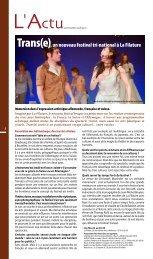 Trans(e), un nouveau festival tri-national à La Filature - JDS.fr
