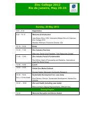 Zinc College 2012 Rio de Janeiro, May 20-24 OPTIONAL MINE ...
