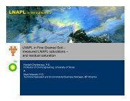 LNAPL in Fine Grained Soil – measured LNAPL saturations – and ...