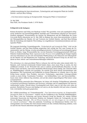 Memorandum zum 1. Innovationsforum der Gottlieb Daimler- und ...