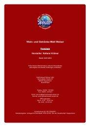 Preisliste für Hersteller: Kelterei Krämer - und Getränke-Welt Weiser