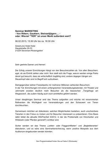 Ablauf Marketing-Seminar - Deutscher-Wildgehege-Verband eV