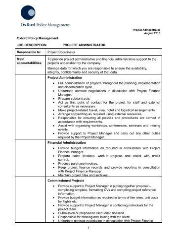 project administrator job description pdf