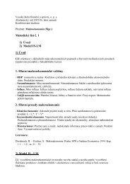 Metodický list č. 1 1) Úvod 2) Model IS-LM 1) Úvod 1. Hlavní ...