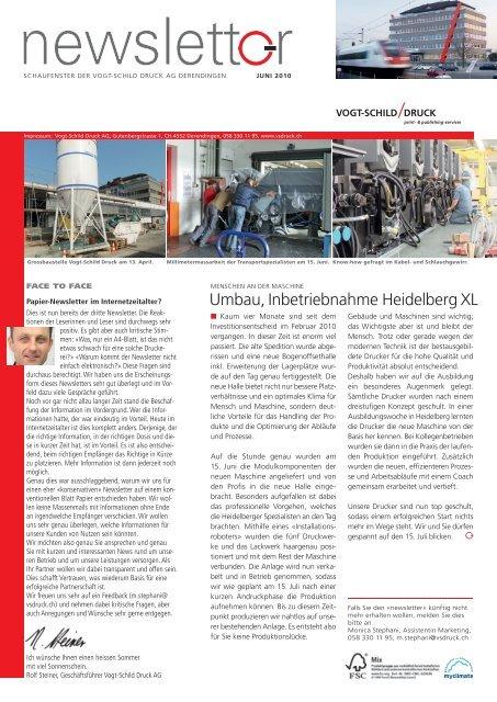 Newsletter Juni 2010 - Vogt-Schild Druck AG