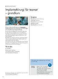 Implantatkirurgi för teamet – grundkurs - Astra Tech