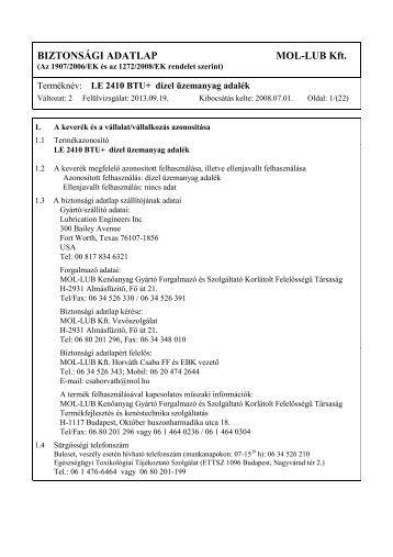 Biztonsági adatlap - LE 2410 BTU+ (pdf, 173 kB) - Mol