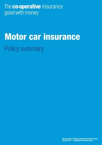 Motor car insurance - The Co-operative Insurance