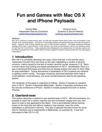 Fun and Games with Mac OS X and iPhone Payloads - Black Hat