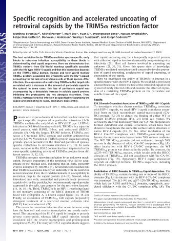 Specific recognition and accelerated uncoating of retroviral capsids ...