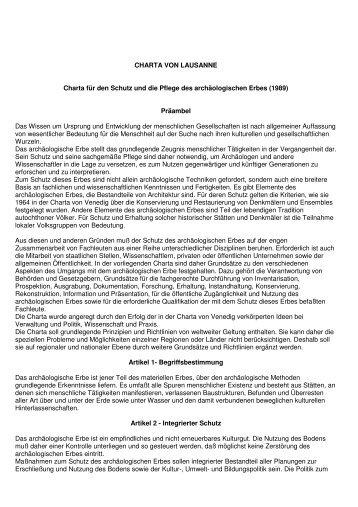 CHARTA VON LAUSANNE Charta für den Schutz und die ... - SKR