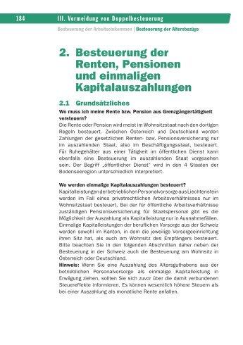 2. Besteuerung der Renten, Pensionen und einmaligen ...