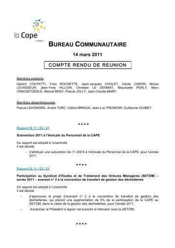 Bureau communautaire - Compte-rendu du lundi 14 mars ... - CAPE
