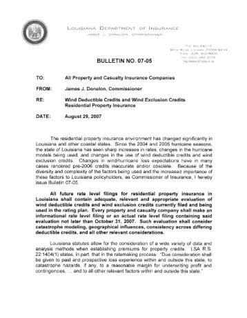 BULLETIN NO. 07-05 - Louisiana Department of Insurance